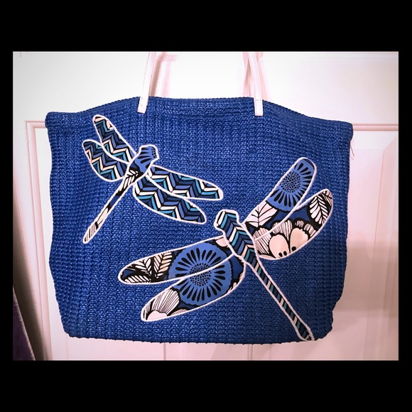 34498bec3 Vera Bradley Bags | Dragonfly Blue Bayou Woven Straw Tote | Poshmark